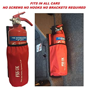 CAR VAN TAXI FIRE EXTINGUISHER. REQUIRES NO SCREWS NO BRACKETS NO HOOKS. 1 KG ABC DRY EXTINGUISHER WITH UNIVERSAL CAR TAXI VAN FIRE EXTINGUISHER HOLDER POUCH WITH HEAVY DUTY VELCRO BACK.