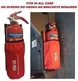 Auto-/Bus-/Taxi-Feuerlöscher. benötigt keine Schrauben Keine Klammern keine Haken. 1-kg-ABC-Feuerlöscher mit Universal-Halterung für Autos/Taxis/Busse, Feuerlöscher-Tasche mit robuster Klettverschluss-Rückseite.
