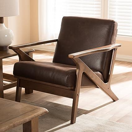 Merveilleux Baxton Studio Bianca Mid Century Modern Walnut Wood Dark Brown Distressed  Faux Leather Lounge Chair