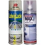 PREMIUM Sprayset für BMW Schwarz II Farbcode 668 Bj. 1989 - 2013 Uni Lack * 2 Spraydosen Lack Spray im Set - Eine Spraydose Basislack 400 ml und eine Dose 2K Klarlack hochglänzend 400ml.