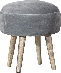 Hillsdale Furniture Mid-Mod Rounded Velvet Vanity Stool, Gray