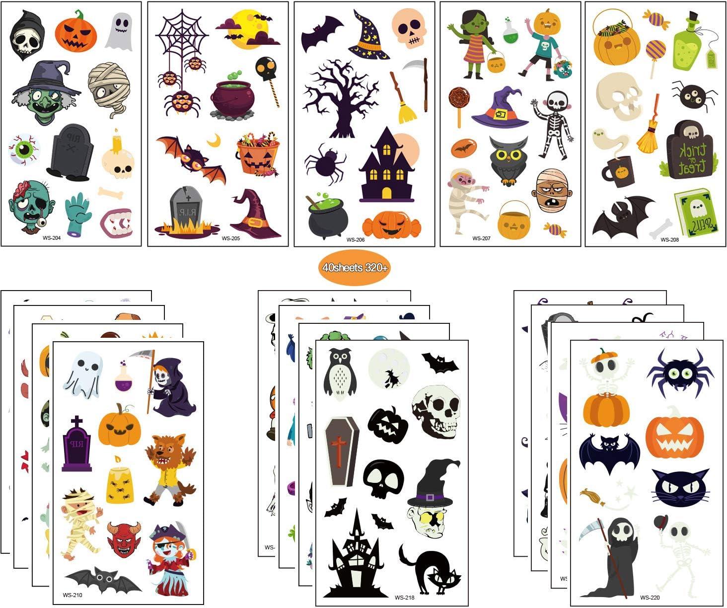 Tatuajes Temporales de Halloween, 40 Piezas Surtidos Tatuajes Temporales de Halloween para Niños, Niños y Niñas con Patrón de Calabaza, Calavera, Fantas,Tatuajes de Vampiros Murciélago