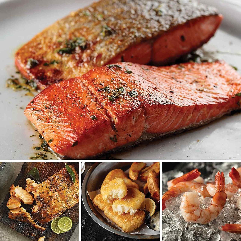 Family Seafood Favorites from Omaha Steaks (Wild Alaskan Skin-On Sockeye Salmon, Marinated Salmon Fillets, Pub-Style Cod, and Jumbo Cooked Shrimp)