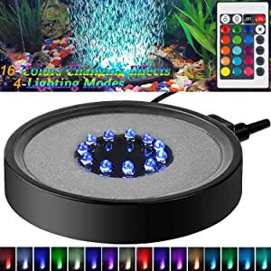 Aquarium Bubble LED Lights RGBW, TOPBRY Remote Controlled Air Stone Disk, with 16 Color Changing, 4 Lighting Effects for Fish Tank Decorations