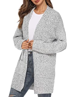 Women s Casual Sweater Cardigan Open Front Long Sleeve Cable Knit Sweater  Pockets Grey b592e4a94