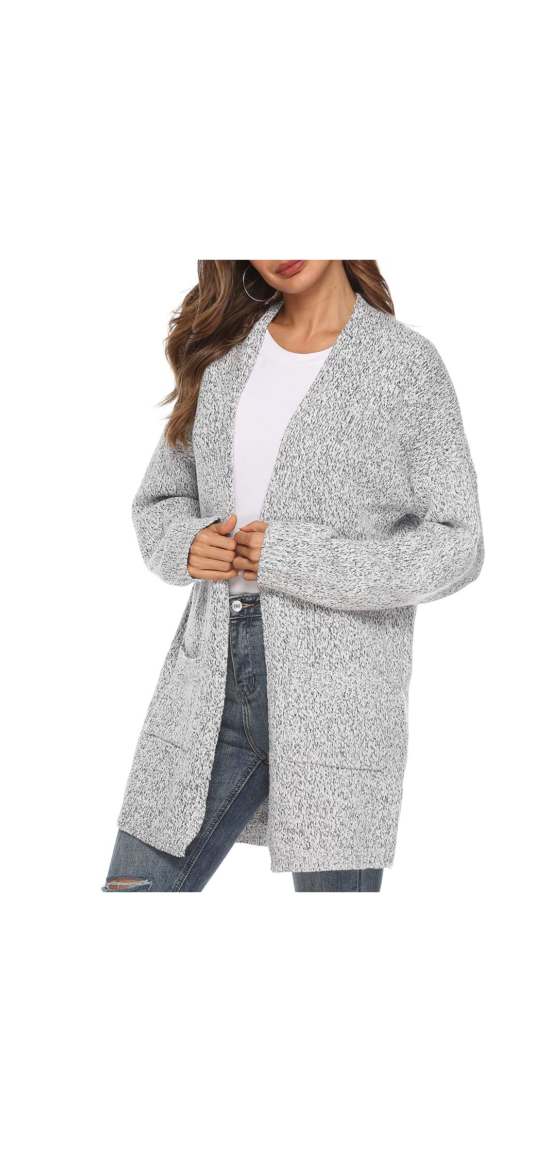 Women's Casual Sweater Cardigan Open Front Long Cable