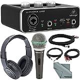 """Behringer U-PHORIA UM2 2x2 USB Audio Interface and Deluxe Bundle w/Samson Q6 Mic + Headphones + Xpix 1/4"""" TRS Cable + 2RCA Male Cable + Fibertique"""