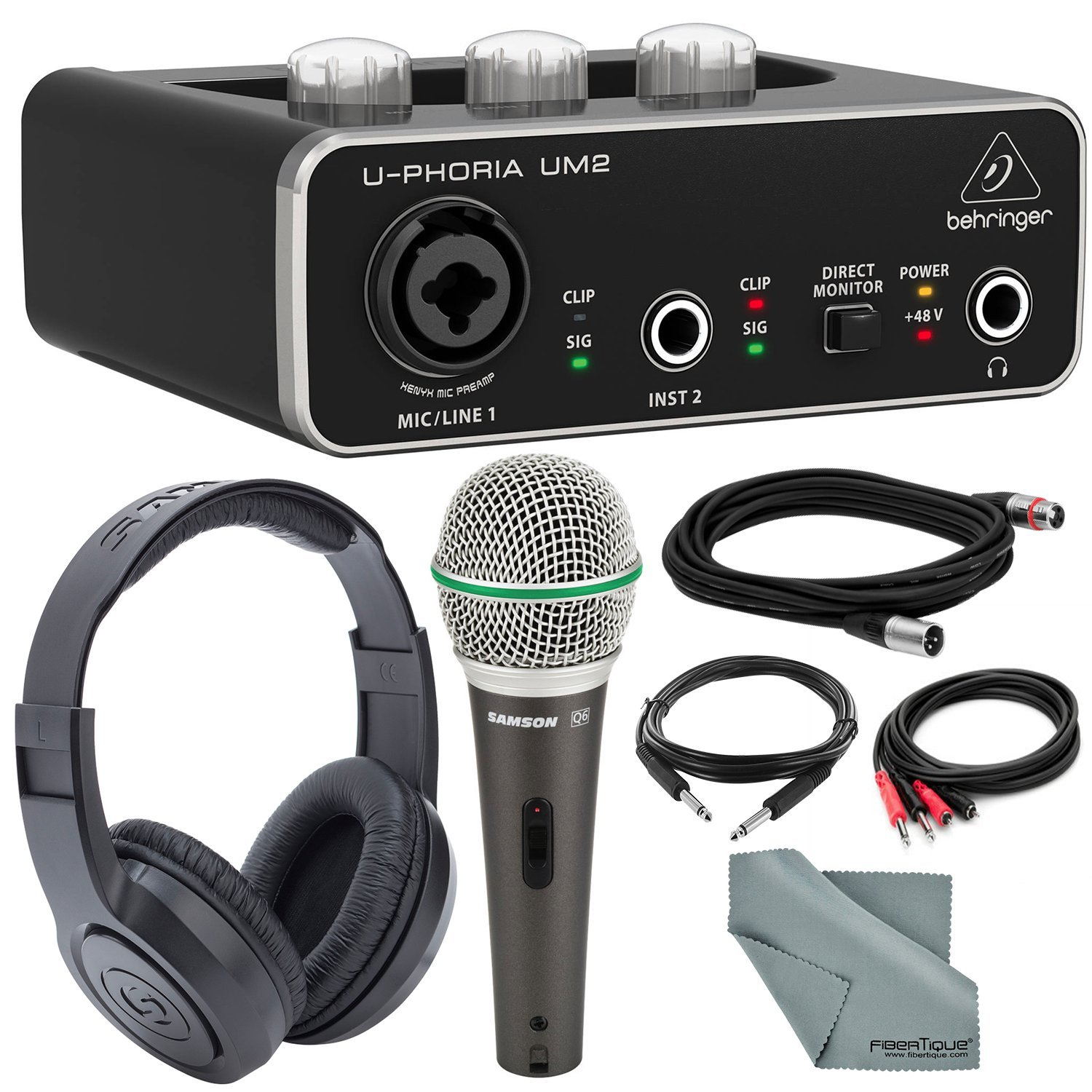 Behringer U-PHORIA UM2 2x2 USB Audio Interface and Deluxe Bundle w/Samson Q6 Mic + Headphones + Xpix 1/4'' TRS Cable + 2RCA Male Cable + Fibertique by Photo Savings