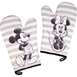 Disney Mickey and Minnie Mouse Set of Two Oven Mitts w Sketch Art Design - Heat Resistant - 100% Cotton - Pair