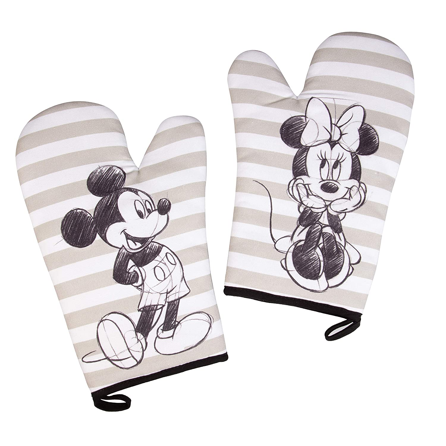 Disney Mickey and Minnie Mouse Oven Mitt Set with Sketch Art Design - Heat Resistant - 100% Cotton - Pair
