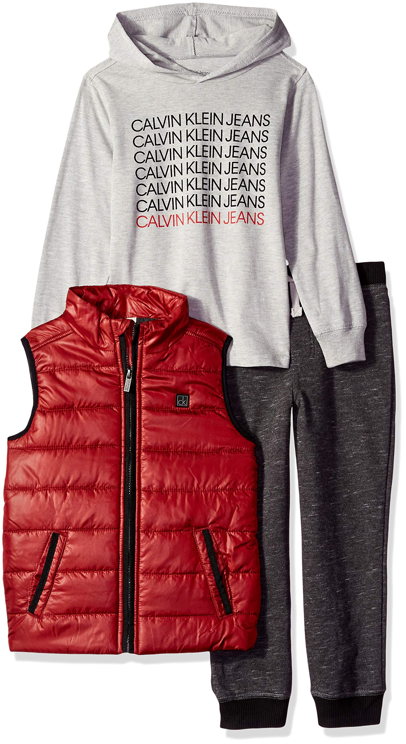Calvin Klein Boys' Toddler 3 Pieces Vest Set-Hooded TEE, Gray/red 3T