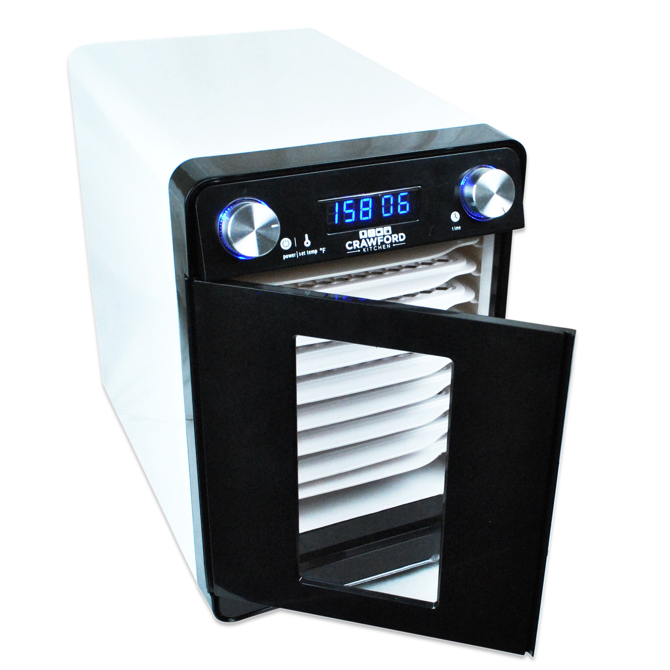 Crawford Kitchen Countertop Food Dehydrator | Easy To Clean Body & Trays | 48h Digital Timer And Heat Control | Ultra Quiet High Efficiency Design (9 Tray)