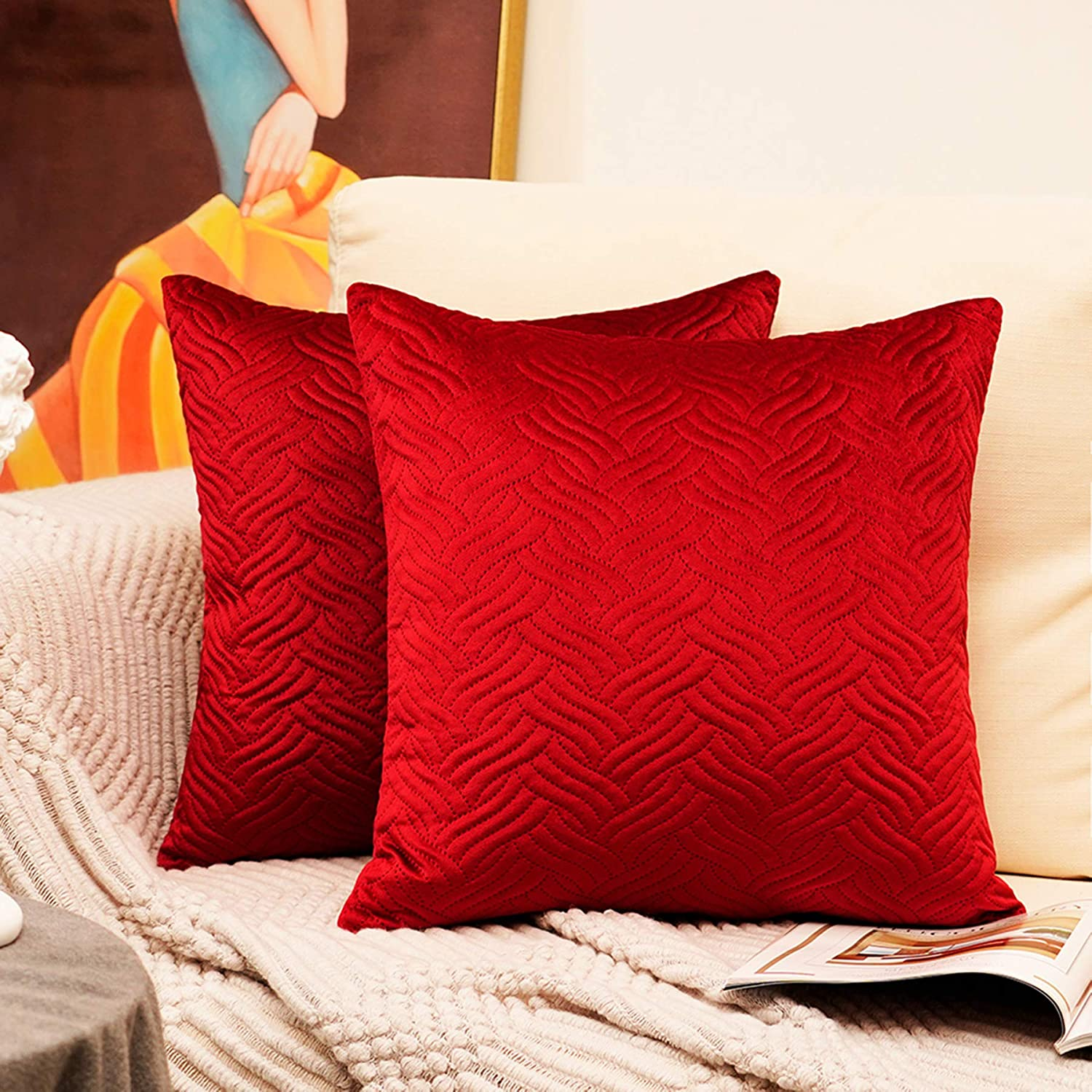 HomiinThrowPillowCovers 18 x 18 inch, Fall Pillow Covers Set of 2, Velvet Elegant Square Decorative Throw Pillow Covers, Modern Fashion Style Pillow Cases of Home Decor (Burgundy)
