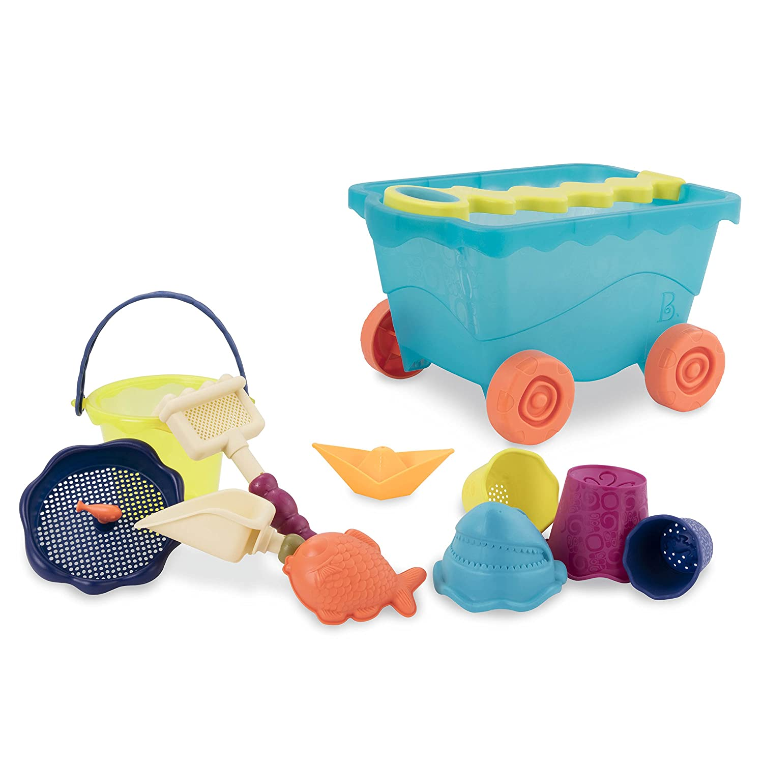B. toys by Battat Wavy-Wagon Travel Beach Buggy (Sea Blue) with 11 Funky Sand Toys Phthalates and BPA Free 18 m+ BX1596Z