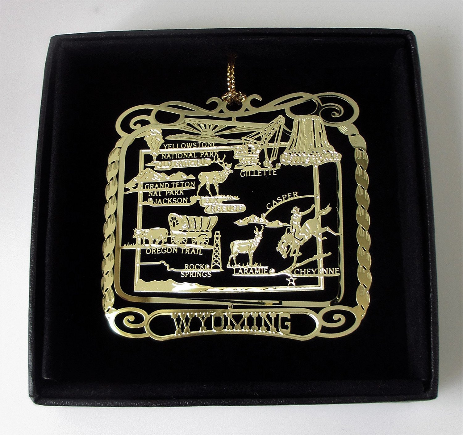 Wyoming State Brass Ornament Black Leatherette Gift Box