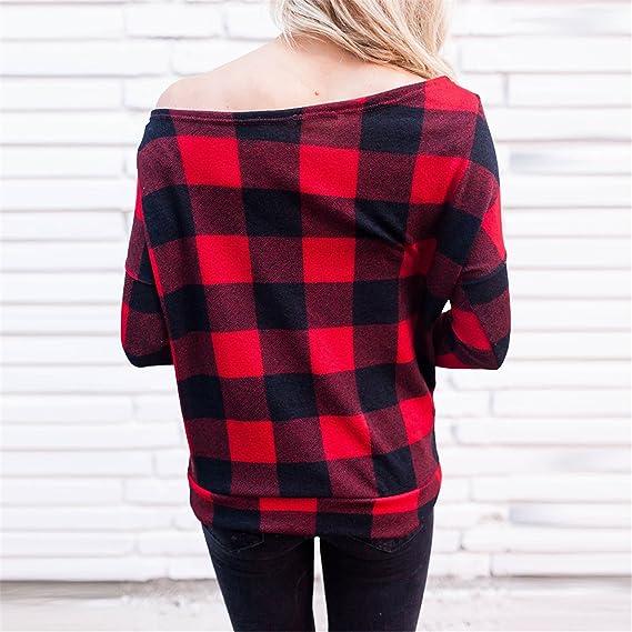 Longra Mujer Camisas Off Hombro a Cuadros Blusa De Moda De Manga Larga Casual Camisetas, : Amazon.es: Ropa y accesorios