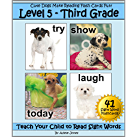 Level 5 - Third Grade: Cute Dogs Make Reading Flash Cards Fun! (Teach Your Child to Read Sight Words) (English Edition)
