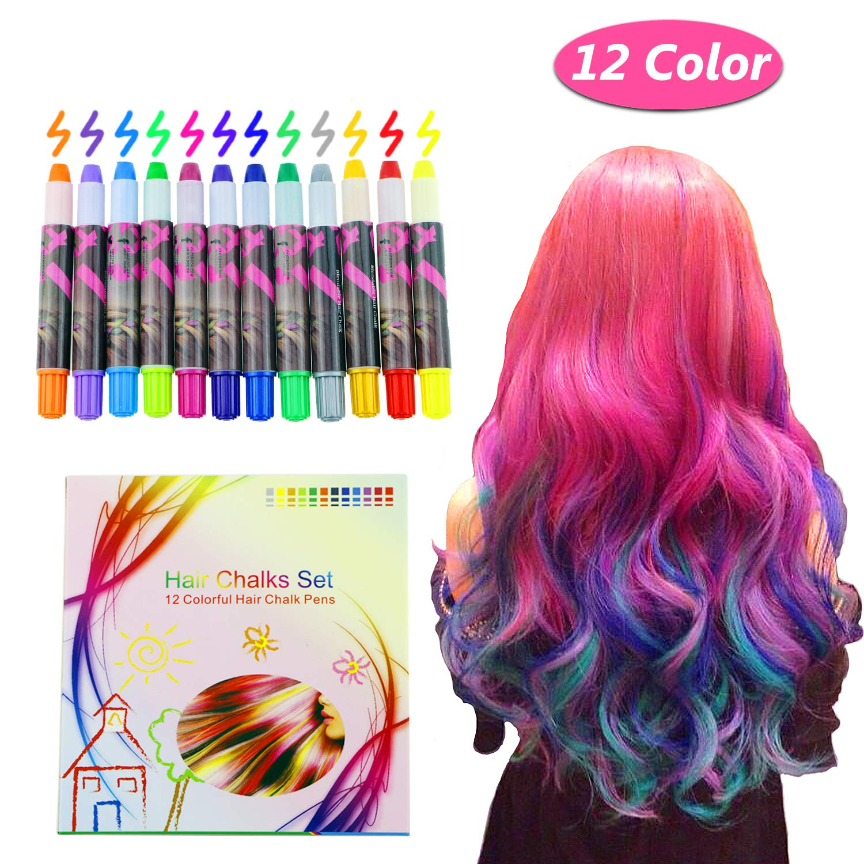 Vimpro Hair Chalk, 12 Color Temporary Hair Chalk Hair Dye Pen Temporary  Hair Color Temporary Non-Toxic...