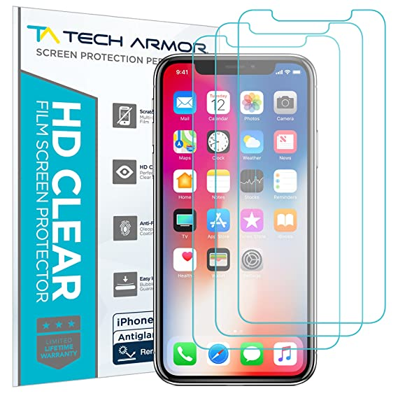 separation shoes f5e70 780a5 Tech Armor Apple iPhone X/Xs Matte Anti-Glare/Anti-Fingerprint Film Screen  Protector [3-Pack] Case-Friendly, Scratch Resistant, 3D Touch Accurate ...