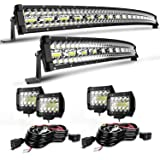 EDITOP Curved Led Light Bar 52 Inch 1122W+32 Inch 672W Triple Row Spot Flood Combo Beam Light Bars+4Pcs 4Inch 60W Led…