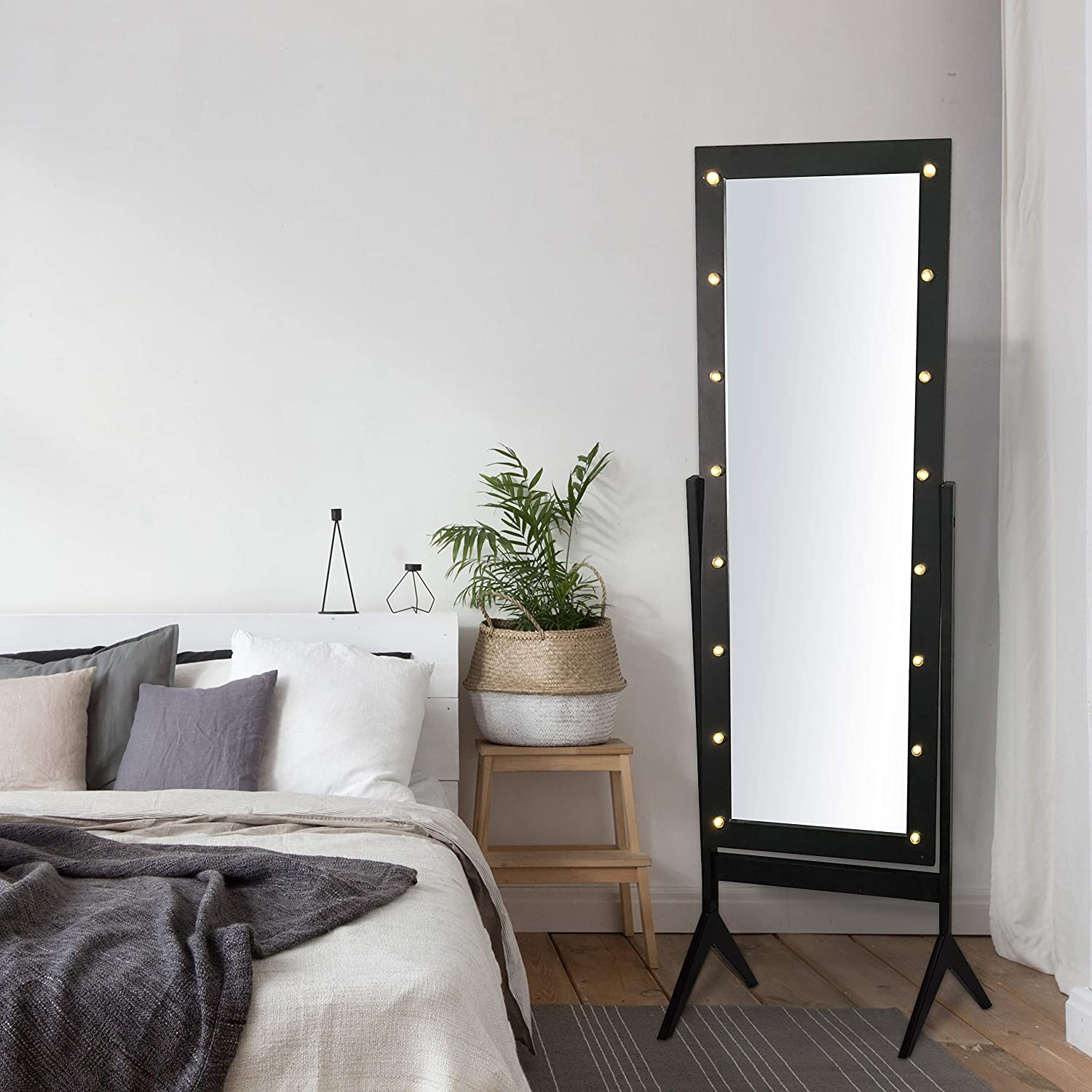 Amazon Com Ehomeproducts Black Finish Led Lights Wooden Cheval Bedroom Floor Mirror Stand Hollywood Makeup Mirror Home Kitchen
