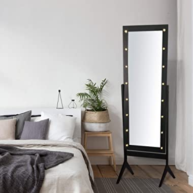 eHomeProducts Black Finish LED Lights Wooden Cheval Bedroom Floor Mirror Stand Hollywood Makeup Mirror
