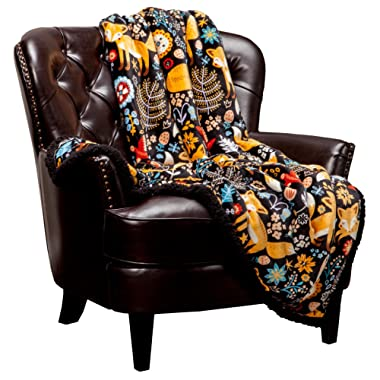 Chanasya Gold Fox Lush Nature Vibrant Color Print Decorative Fleece Throw Blanket - Super Soft Cozy Snuggly Luxurious Chick Plush Sherpa for Bed Couch Sofa Chair Office (50 x 65 Inches) - Black
