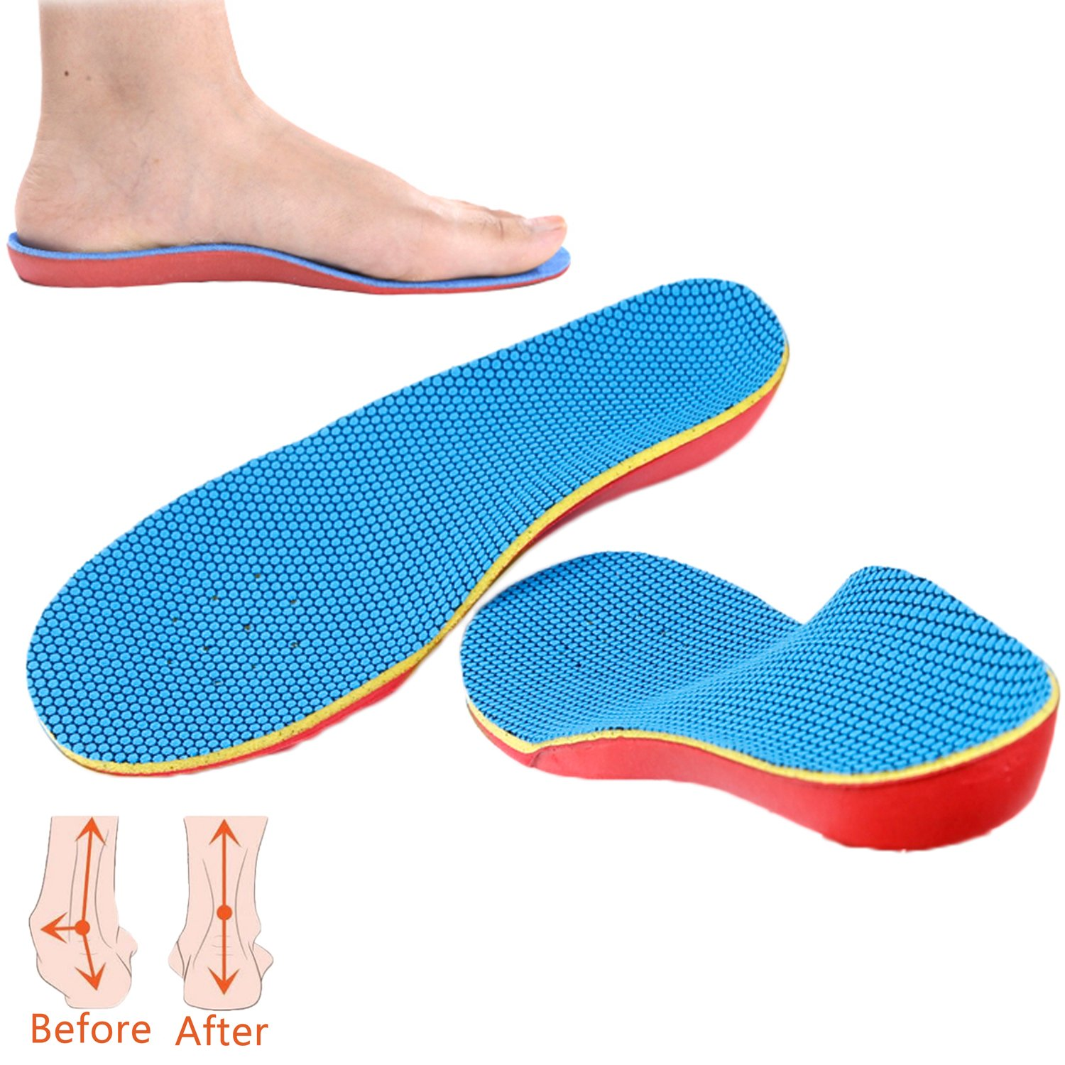 DODOING Kid's Insoles-Full Length Children's Orthotic Pad with Arch Support For Pain Relief,Flat Feet
