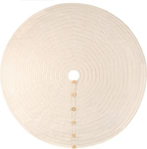 48-Inch Knit Christmas Tree Skirt, Hand-Knitted Xmas Home Holiday Decor with 4-Inch Center Hole and 6 Wood Button-and-Loop Closure (Natural White)