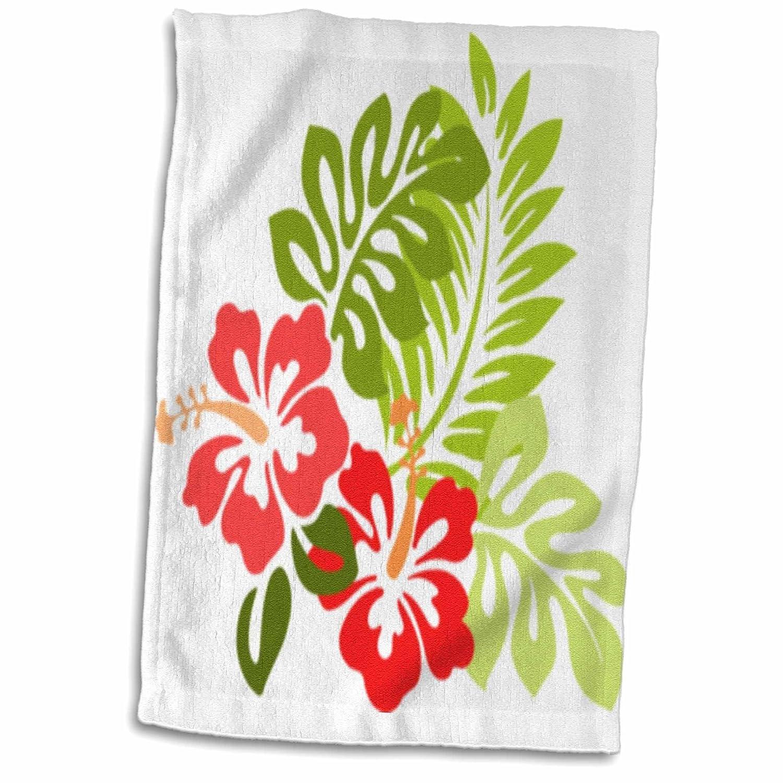 3D Rose Hawaiian Hibiscus n Leaves Print TWL_41559_1 Towel 15' x 22' 3dRose