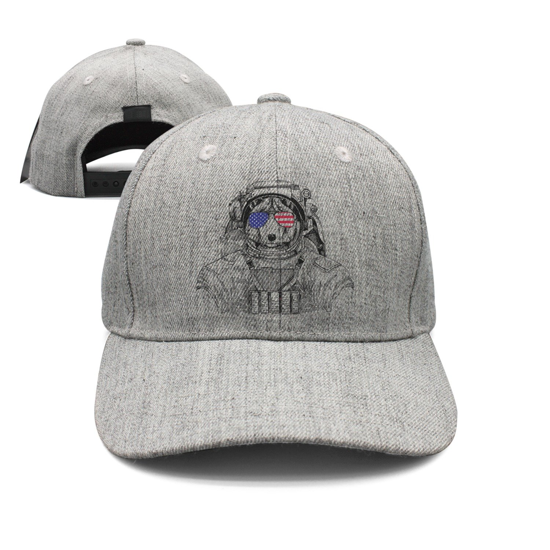 Wolf Dog with USA Flag Glasses Astronaut Spaceman Woolen Peak Cap Snapback Hat Visor Hats Grey