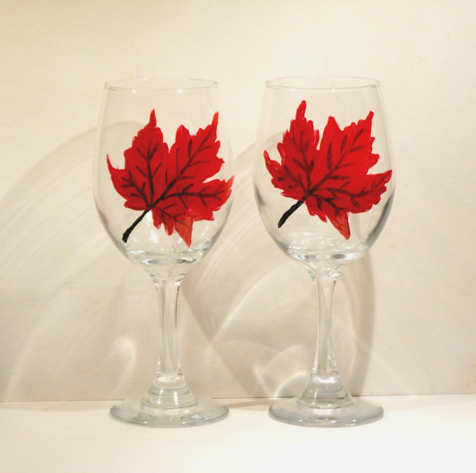 Autumn Red Maple Leaf Hand Painted Stemmed Wine Glasses (Set of 2), Fall Home Décor