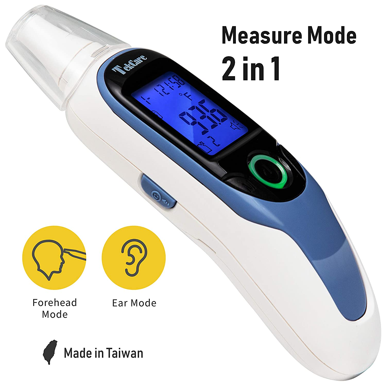 Tekcare Infrared Ear and Forehead Thermometer, FDA Approved, Fever Indicator, Ergonomic Design to Fit Infant Baby Kids Adults Object Use