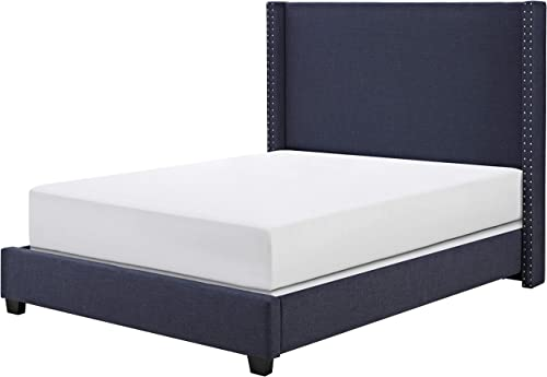 Crosley Furniture Casey Upholstered Platform Bed and Wingback Headboard, Queen, Navy Linen