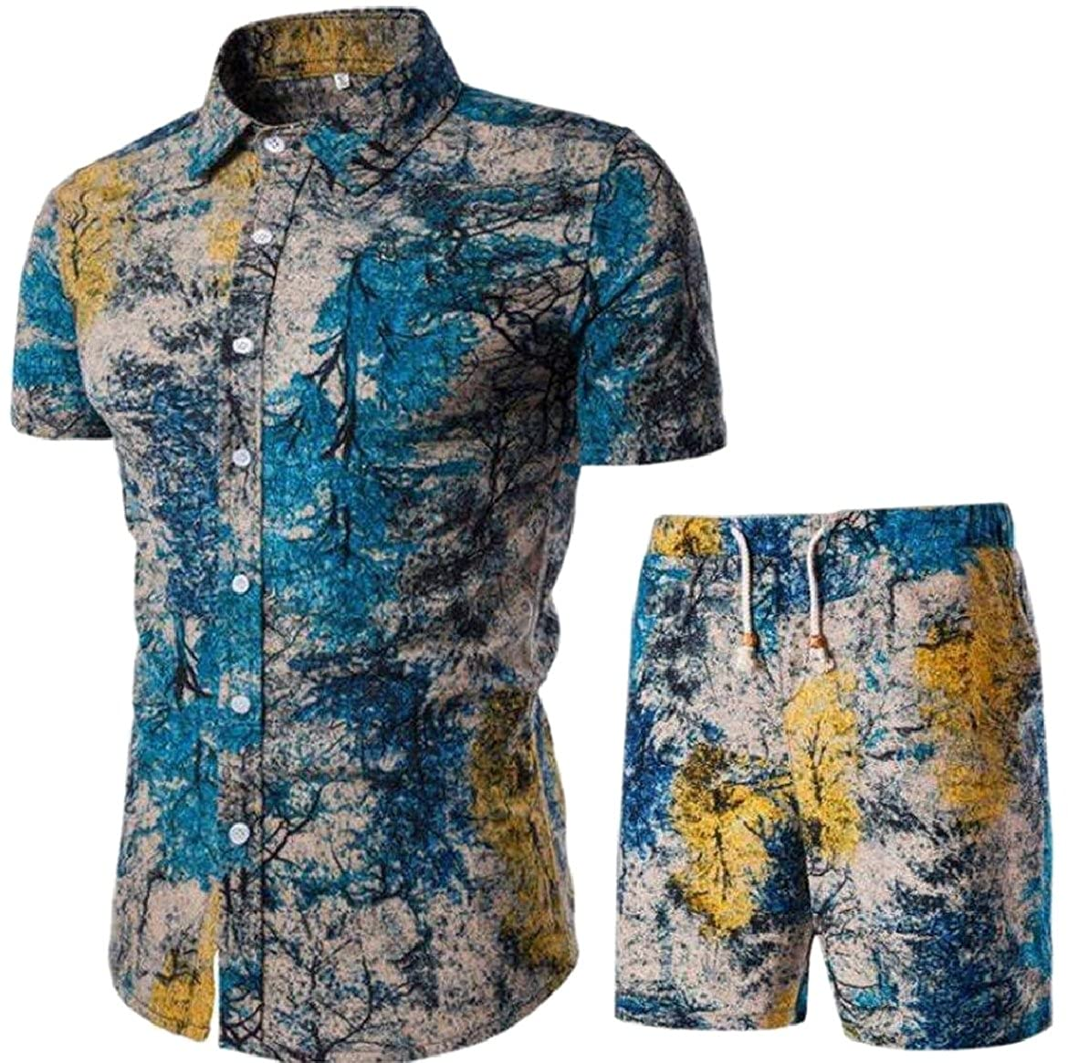 f38a206a0522 FLCH+YIGE Mens Floral Print Button Down Shirt Shorts 2 Piece Set Outfits at  Amazon Men s Clothing store