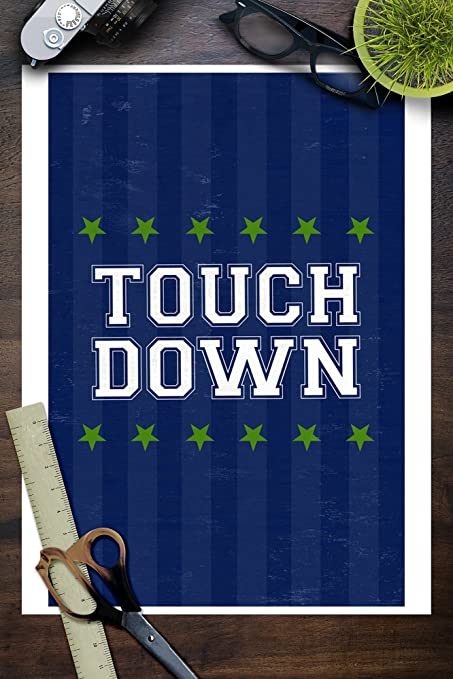 Amazon.com: Monogram - Game Day - Blue and Green - Touchdown ...