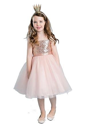 00d770b8d Amazon.com  MGD Girls Sequin Bodice Wedding Flower Girl Dress with ...