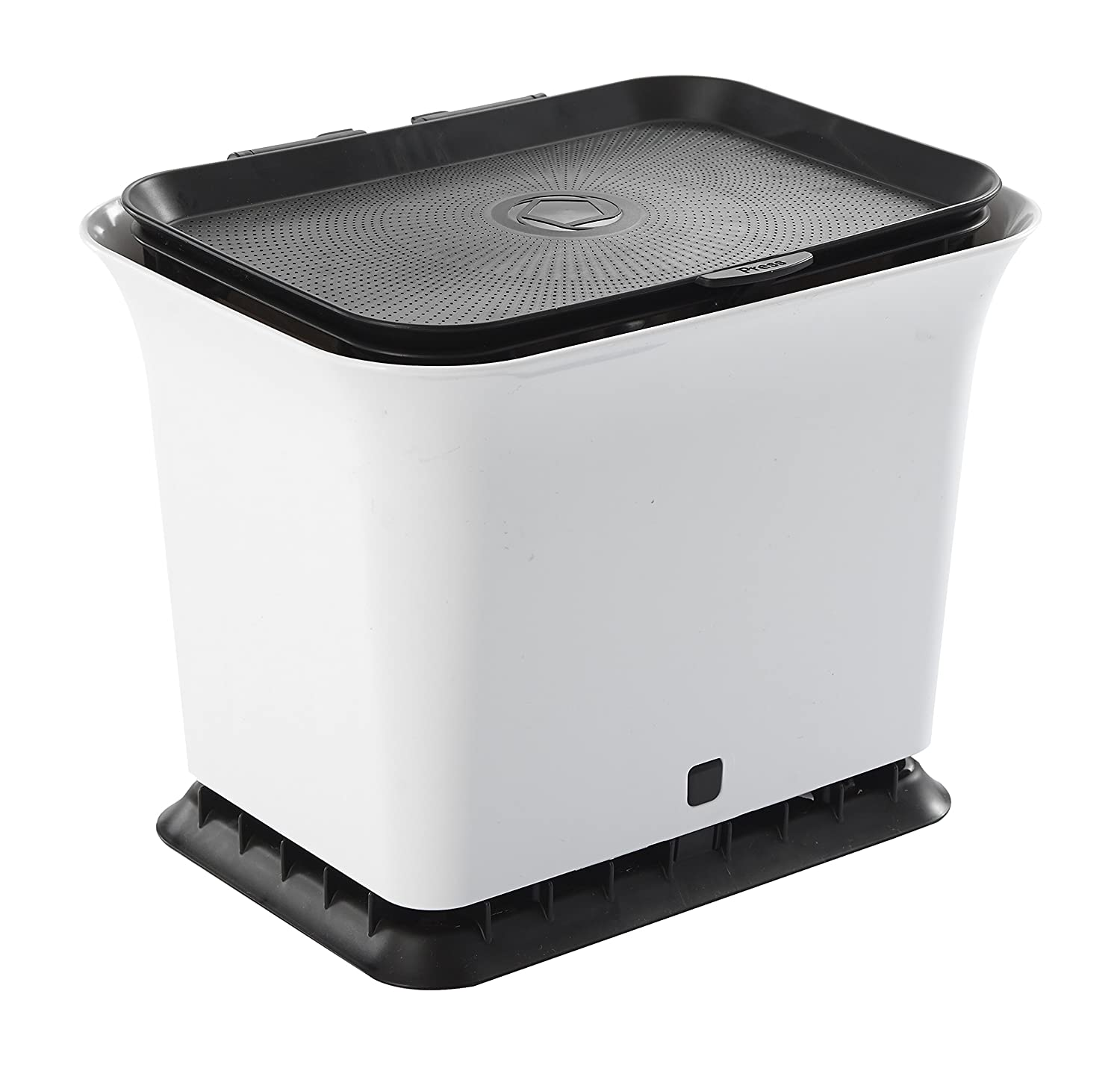 Full Circle Fresh Air Odor-Free Kitchen Compost Bin, Black and White