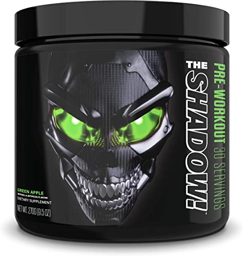 JNX Sports The Shadow Hard Core Preworkout, A Better Pre Workout Stimulant – Electric Energy, Hypnotic Mental Focus, Superhuman Strength, 350mg of Caffeine, Men Women Green Apple 30 Srv