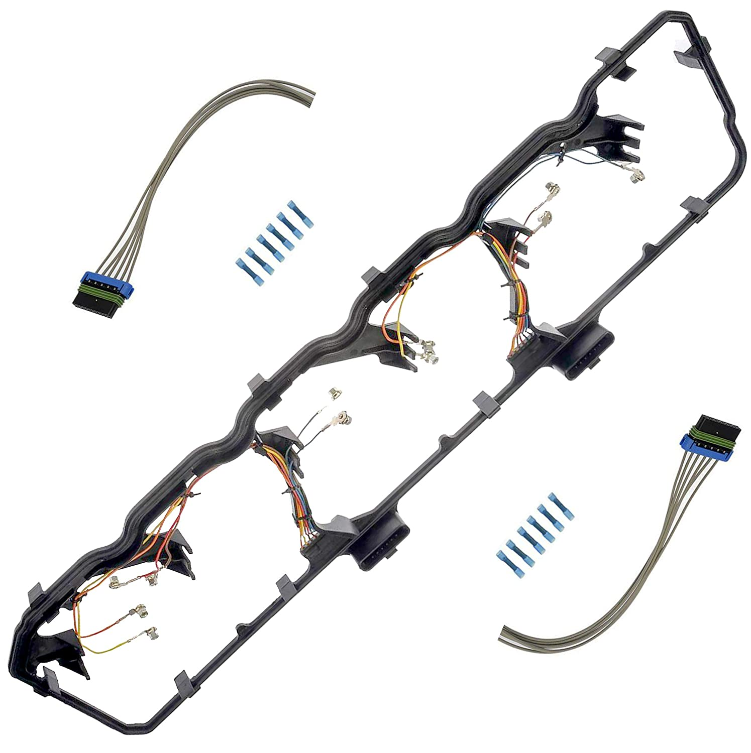 apdty 726315 valve cover gasket kit with fuel injector glow plug wiring harness fits 2006 2014 dodge ram 5 9l or 6 7l cummins diesel engine (replaces Dodge Ram 3500 Front Differential
