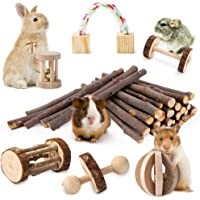 JanYoo Guinea Pig Toys Chinchilla Hamster Roller Rat Chews Toys Bunny Rabbits Exercise Wheels Molar Wooden for Teeth…