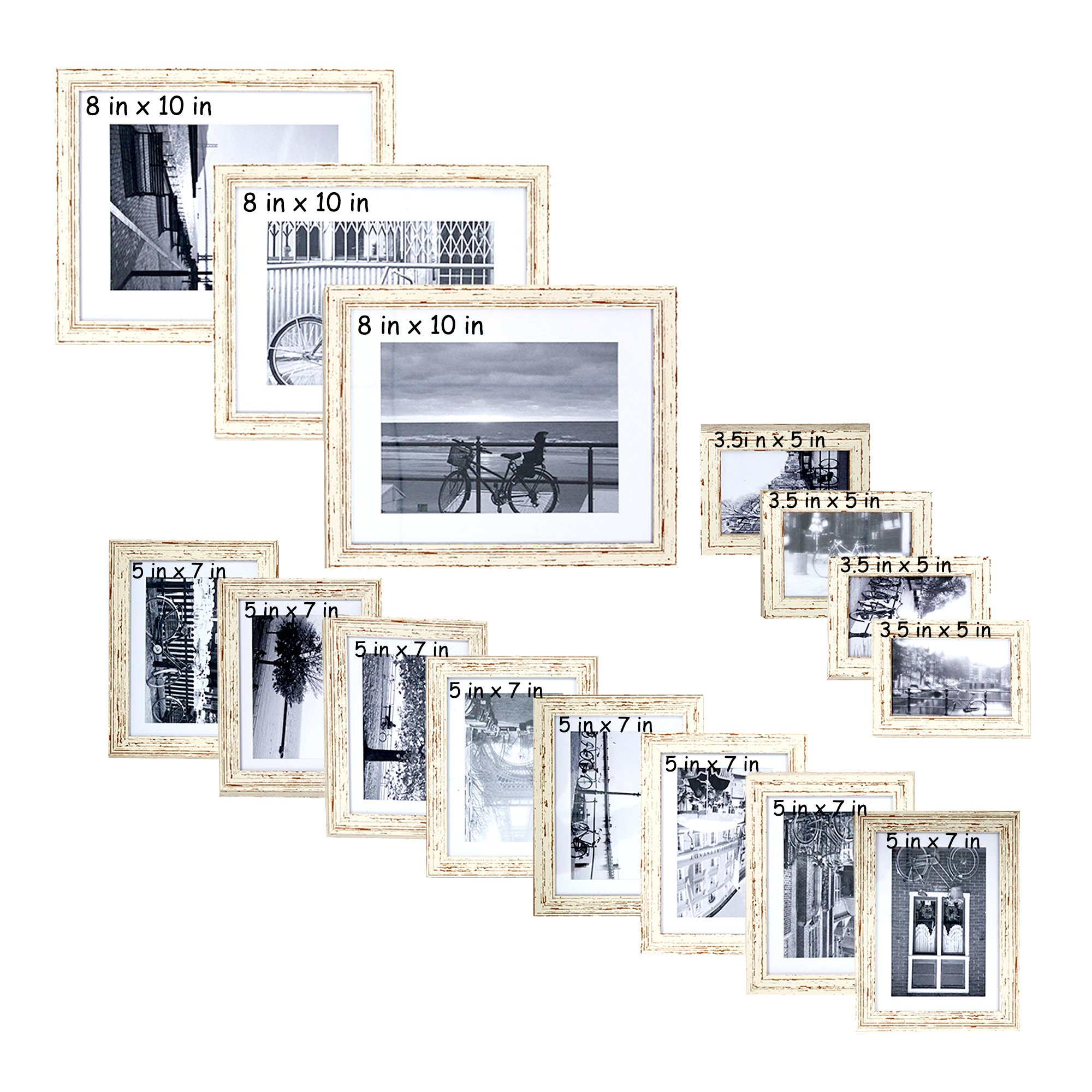 Lucky Tree Multi Pack Family Wall Photo Frame Sets of 15-3 pcs 8x10 in, 8 pcs 5x7 in, 4 pcs 3.5x5 in, White by Lucky Tree