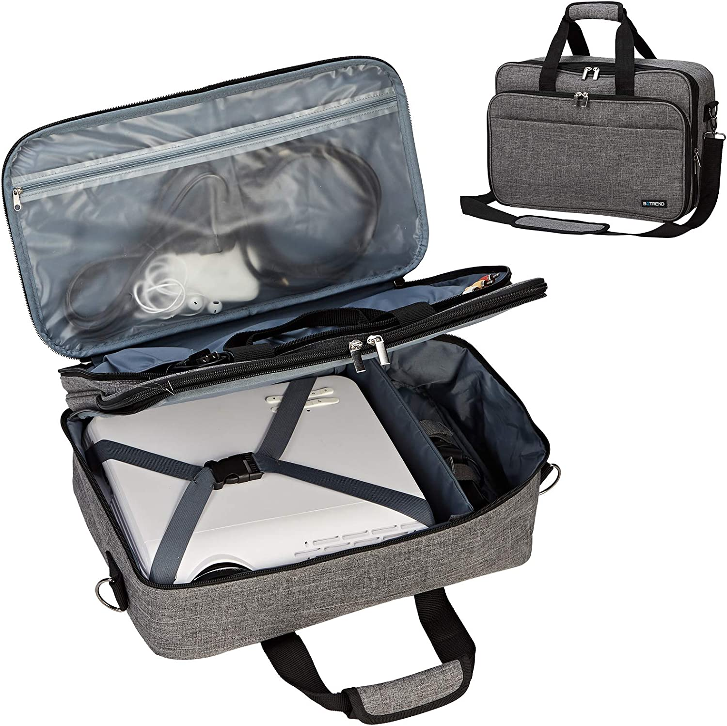 BGTREND Projector Case, Projector Bag Compatible with Most Major Projectors with Accessories Storage Pockets, Grey (Bag Only)