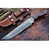 Bobcat Knives Custom Handmade Damascus Steel Bowie Knife with Leather Sheath