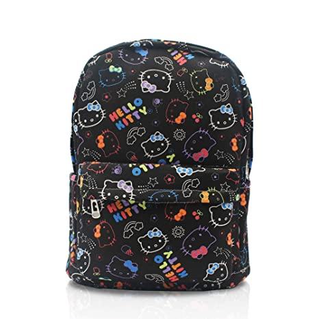 a2b6b25550 Finex Hello Kitty Pattern Black Canvas Cute Cartoon Casual Backpack with 15  inch Laptop Storage Compartment