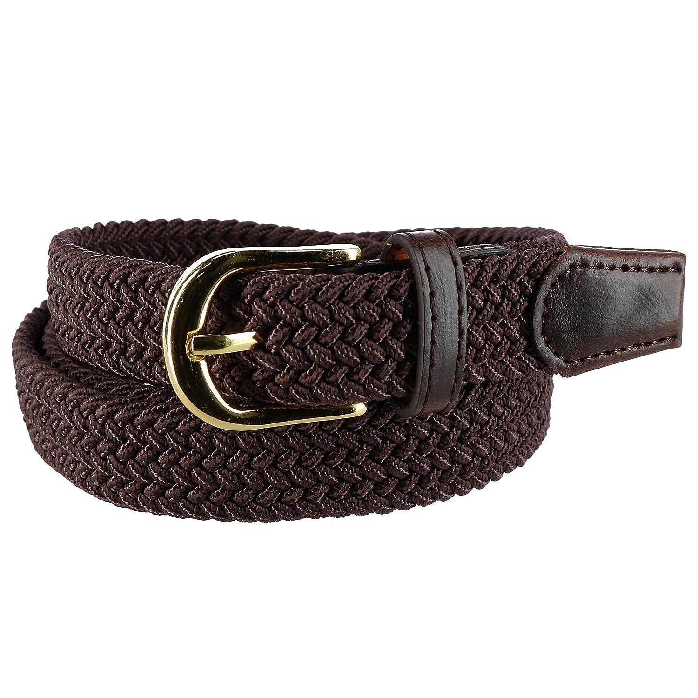 CTM® Women's Elastic Braided Stretch Belt, Large, Brown RR-6001-BRN-L