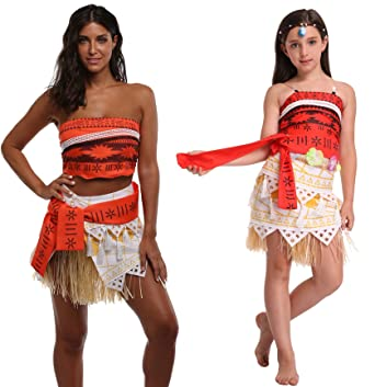 Goodsaleok Girl Women Moana Cosplay Costume Polynesia Princess Dress Outfit For Halloween Party Kid 100  sc 1 st  Amazon.com & Amazon.com: Goodsaleok Girl Women Moana Cosplay Costume Polynesia ...