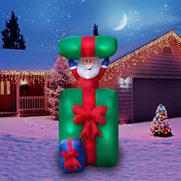 holidayana christmas inflatable giant 65 ft inflatable animatronic santa in present featuring lighted interior - Animatronic Christmas Decorations
