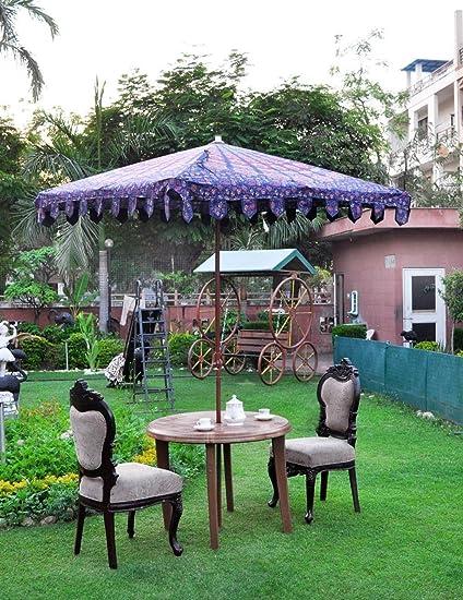 MegaCraft Indian Umbrella Garden Loan Handmade Heavy Embroidery Work Patio  Sun Parasol