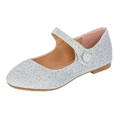 0f7e42fc77a0d2 Festliche Mädchen Glitzer Ballerinas mit Leder Innensohle M373si Silber 19